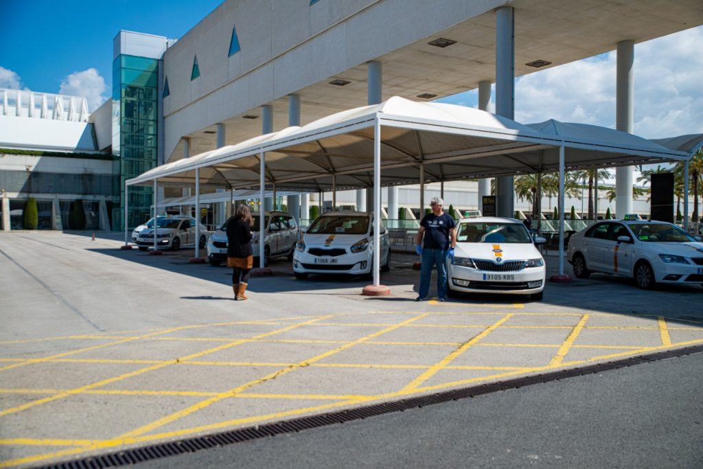 Just five Taxi's waiting in front of the San Juan Airport in Palma de Mallorca