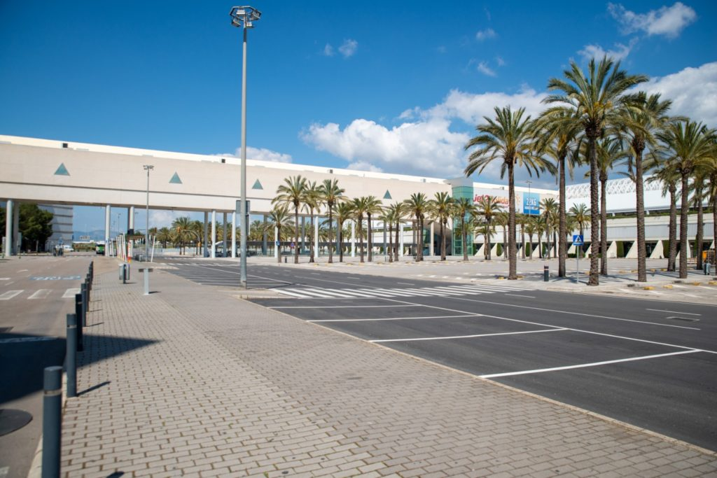 Empty bus parking in front of the Mallorca Airport